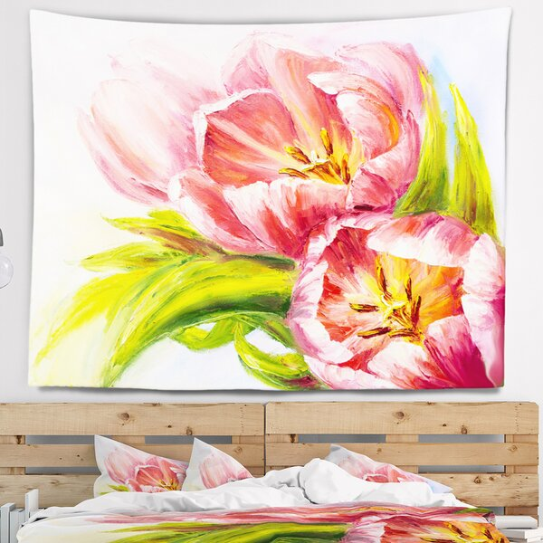 Floral Tulips Flowers Tapestry by East Urban Home