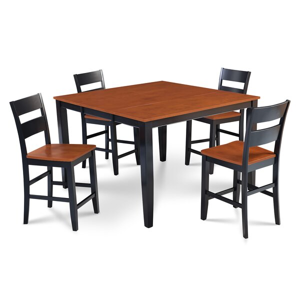 Charlestown 5 Piece Counter Height Solid Wood Dining Set by Alcott Hill