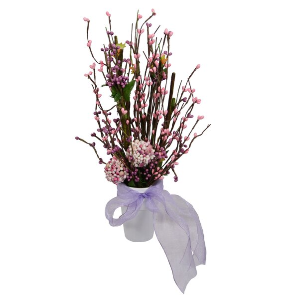 Ball Topiary Floral Arrangement in Pot by House of Hampton