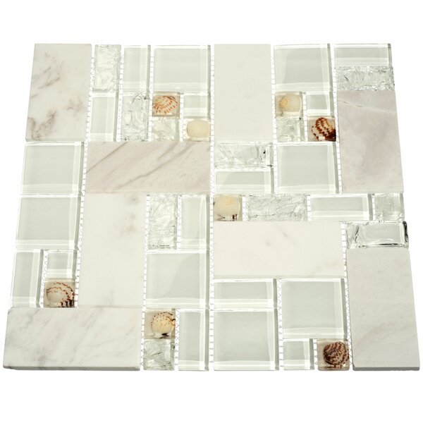 Venetian Random Sized Glass and Stone Mosaic Tile in White and White Marble by Giorbello