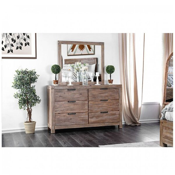 Benally 6 Drawer Double Dresser with Mirror by Foundry Select