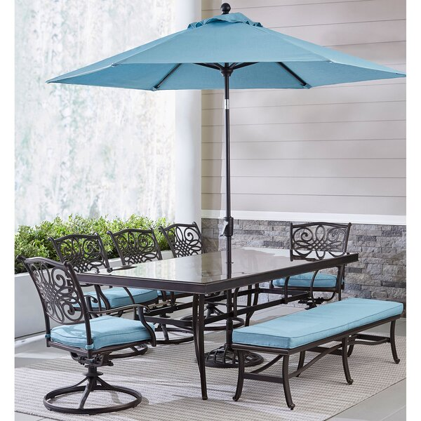 Carleton 7 Piece Dining Set with Cushions and Umbrella by Fleur De Lis Living