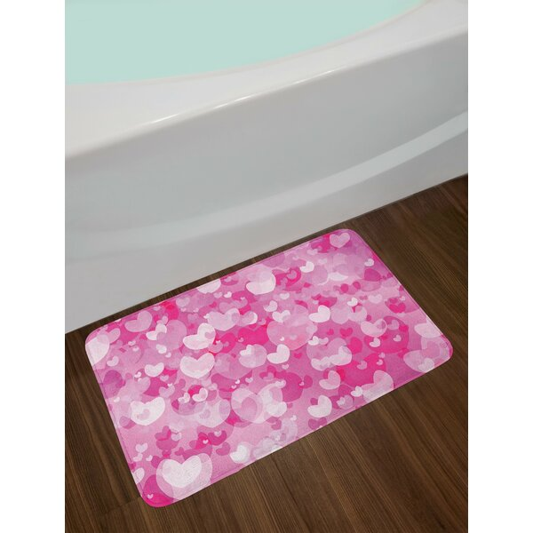 Image Hot Pink Rose White Hot Pink Bath Rug by East Urban Home
