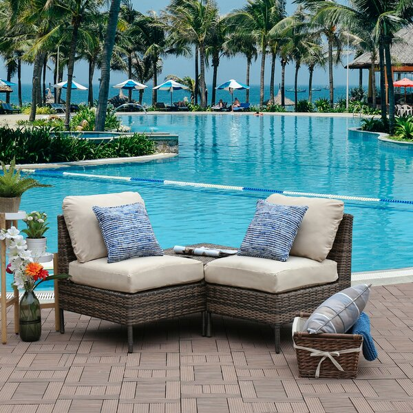 Sevigny Outdoor 2 Piece Sofa Set with Cushions by Breakwater Bay