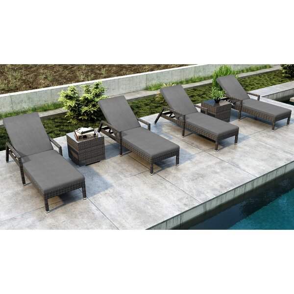 Gilleland Reclining Chaise Lounge Set with Cushion and Table