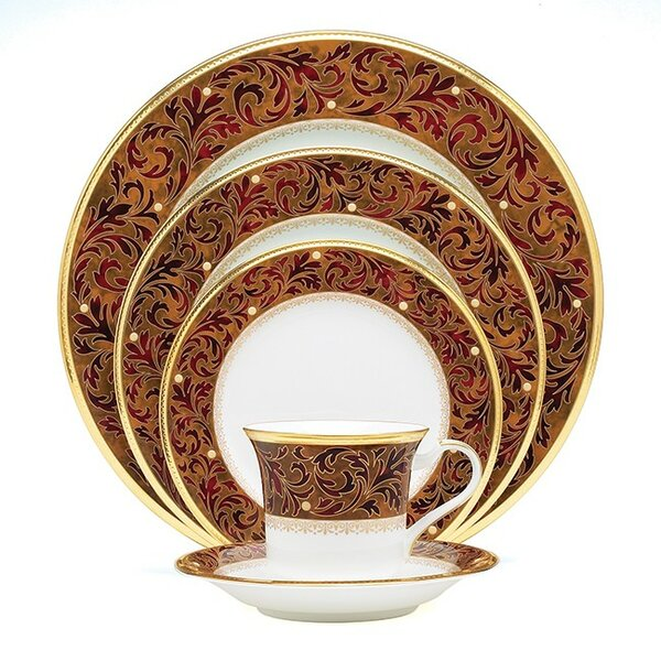 Xavier Gold Bone China 5 Piece Place Setting, Service for 1 by Noritake