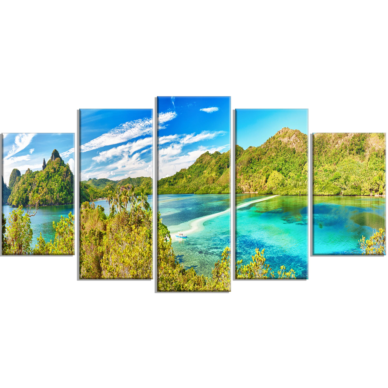 Designart Snake Island Panorama 5 Piece Wall Art On Wrapped Canvas Set Wayfair
