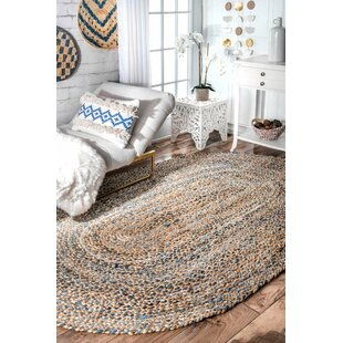 Destrie Hand Braided Denim Blue Area Rug