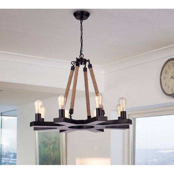 Kayden 8-Light Candle Style Wagon Wheel Chandelier By Breakwater Bay