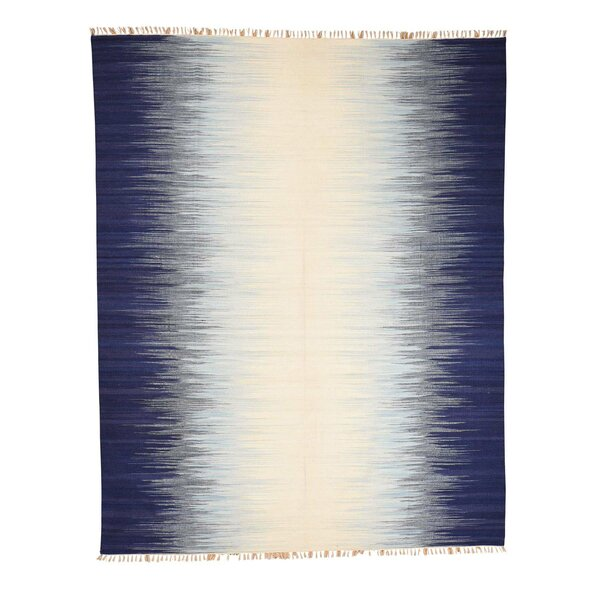 One-of-a-Kind Sherwick Flat Weave Ocean Burst Kilim Oriental Hand-Knotted Blue/Gray Area Rug by Breakwater Bay