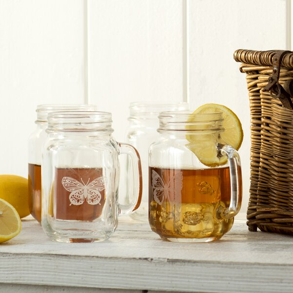 Butterfly 16 oz. Drinking Jar (Set of 4) by Lark Manor