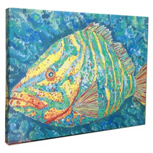 'Striped Grouper' by Gerri Hyman Painting Print on Wrapped Canvas by My Island