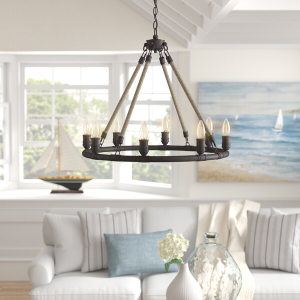 Mexico Beach 8-Light Candle Style Wagon Wheel Chandelier By Beachcrest Home
