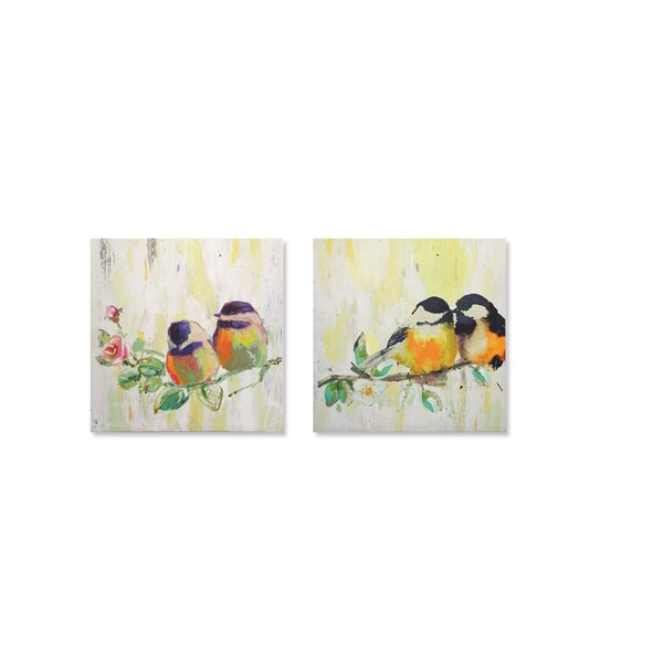 Birds 2 Piece Graphic Art on Wrapped Canvas Set by Melrose International