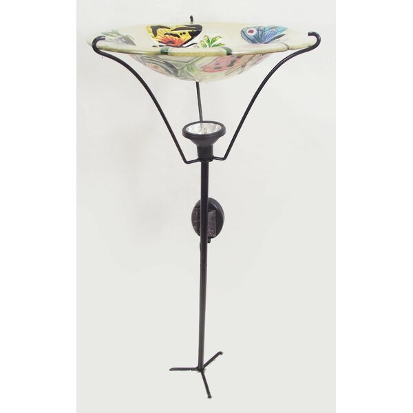 Butterfly Garden Solar and Lighted Birdbath by Continental Art Center