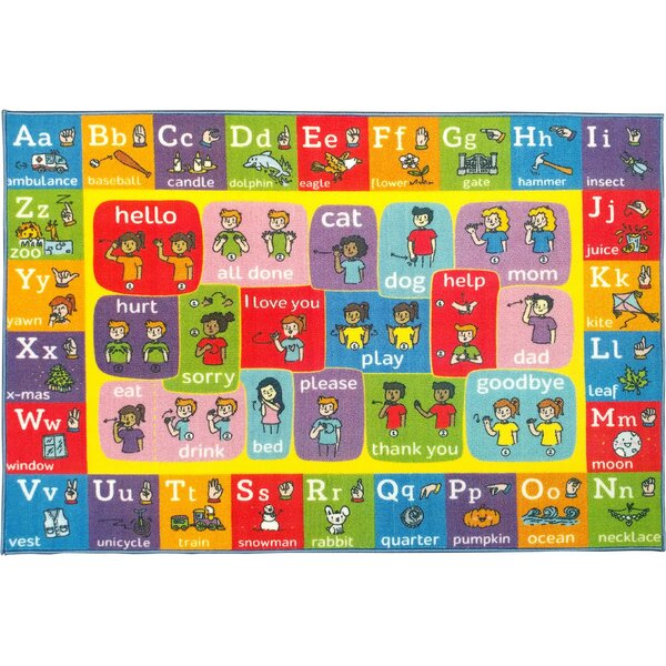 Perri ABC Alphabet ASL Sign Language Red/Pink Indoor/Outdoor Area Rug By Zoomie Kids