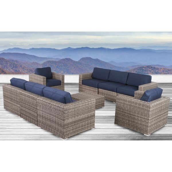 Lazaro 9 Piece Sunbrella Sectional Seating Group with Cushions