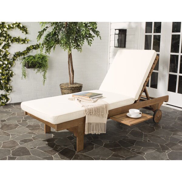 Fullerton Reclining Chaise Lounge with Cushion with Table by Breakwater Bay
