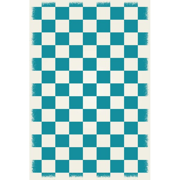Willse English Checker Teal/White Indoor/Outdoor Area Rug by Winston Porter