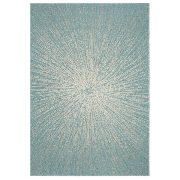 Hannan Aqua/Ivory Area Rug by Mercury Row