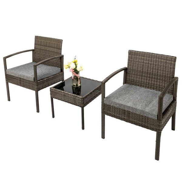 Bonnard 3 Piece Rattan Seating Group with Cushions by Ebern Designs