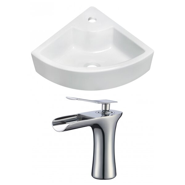 Ceramic 26 Wall-Mount Bathroom Sink with Faucet by Royal Purple Bath Kitchen