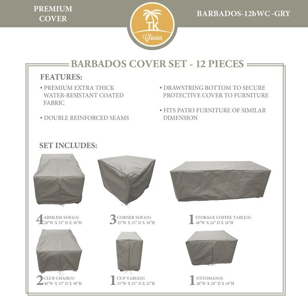 Barbados 12 Piece Water Resistant Sofa Furniture Cover Set by TK Classics