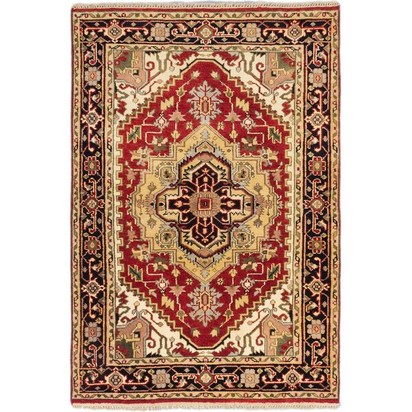 One-of-a-Kind Doerr Hand Knotted Wool Red Area Rug by Isabelline
