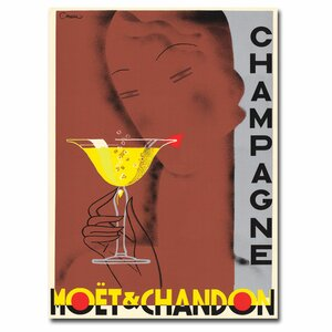'Champagne Moet & Chandon' by Chem Vintage Advertisement on Canvas by Trademark Fine Art