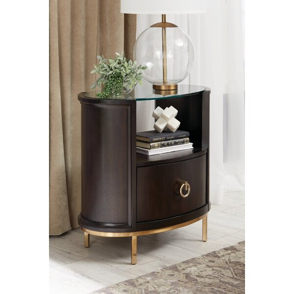 Butera Oval 1 Drawer Nightstand by Everly Quinn