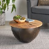 Lily Handcrafted Modern Industrial Mango Wood And Iron Coffee Table by Williston Forge
