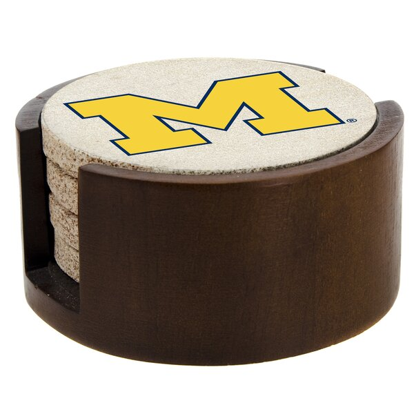 4 Piece University of Michigan Collegiate Coaster by Thirstystone