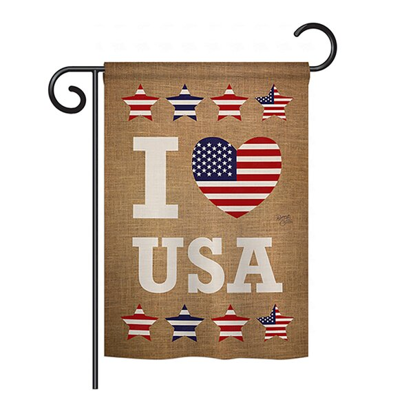 I Love USA 2-Sided Vertical Flag by Breeze Decor