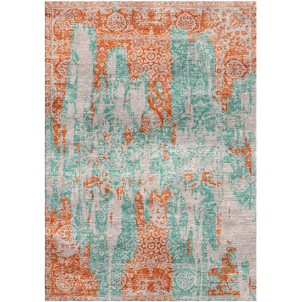 Aliza Handloom Blue/Terracotta Area Rug by Bungalow Rose