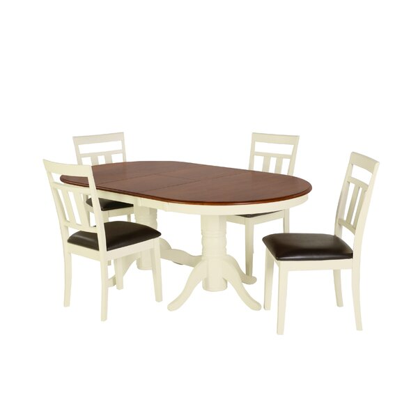 Bellino 5 Piece Drop Leaf Solid Wood Dining Set by August Grove August Grove