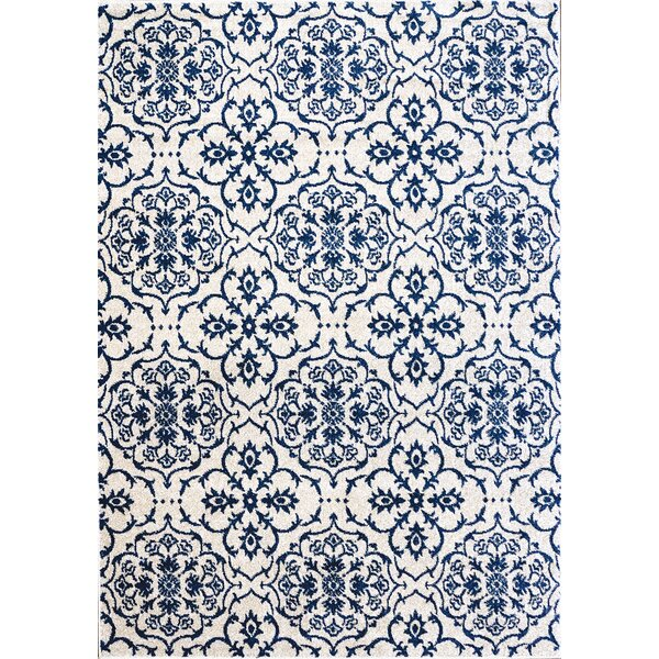 Cadencia Ivory/Blue Indoor/Outdoor Area Rug by Bungalow Rose
