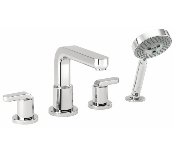Metris S Two Handle Deck Mount Roman Tub Faucet with Hand Shower by Hansgrohe