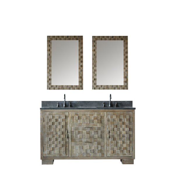 Sharpes Solid Elm 60 Double Bathroom Vanity Set with Mirror by Bay Isle Home