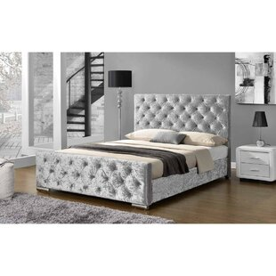 melksham crushed velvet upholstered bed frame by fairmont park