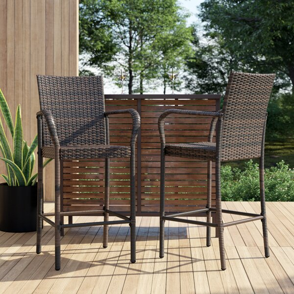 Lansdale 30.25-inch Patio Bar Stool (Set Of 2) By Mercury Row