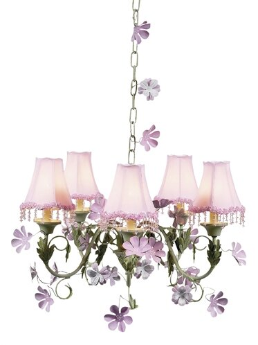 Leaf and Flower 5-Light Shaded Chandelier by Jubilee Collection