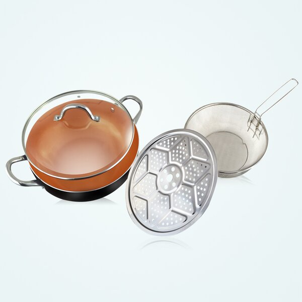 4 Piece 11 Non Stick Wok Set with Lid by Volar Ideas