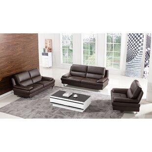 Hillwill Leather 3 Piece Living Room Set by Orren Ellis