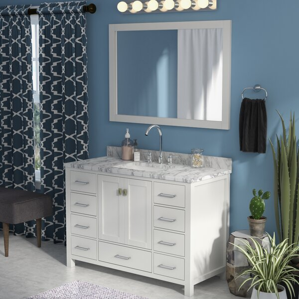 Raishon 48 Single Bathroom Vanity Set with Carrara White Top and Mirror by Willa Arlo Interiors