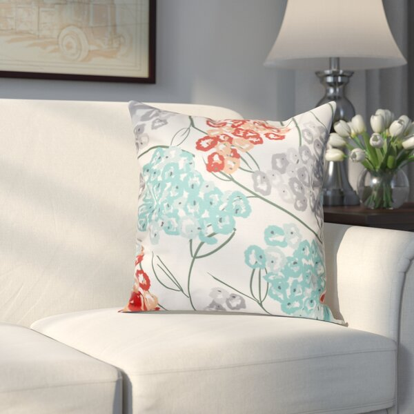 Chenango Hydrangeas Floral Print Outdoor Throw Pillow by Three Posts