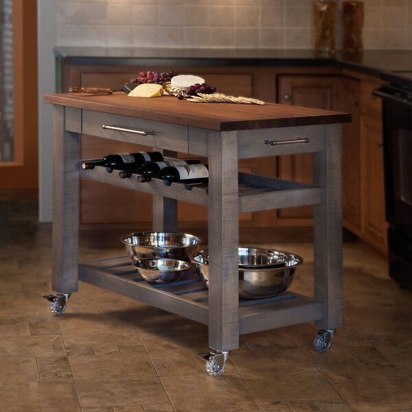 Metro Mobile Kitchen Island with Solid Walnut Top by Martins Homewares