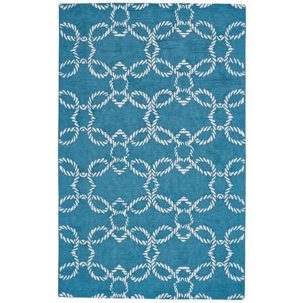 Petitt Geometric Handmade Tufted Blue Indoor / Outdoor Area Rug