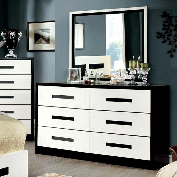 Loveland 6 Drawer Double Dresser with Mirror by Orren Ellis
