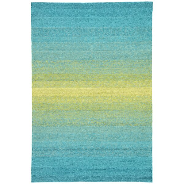 Calanthe Hand-Hooked Blue/Green Indoor/Outdoor Area Rug by Ebern Designs
