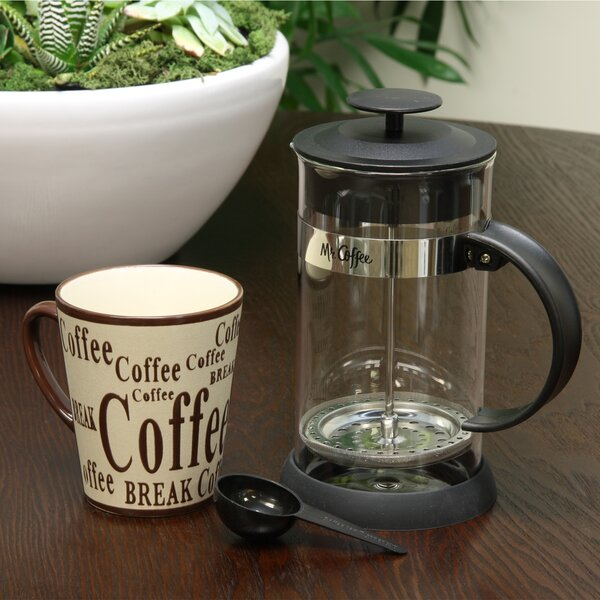 4-Cup Mr. Coffee Oasis Glass French Press Coffee Maker with Mug by Gibson